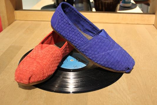 Toms lille vinkel sko suede leather blue red